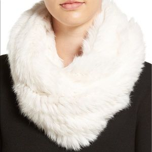 Yves Salomon White Rabbit Fur Infinity Scarf